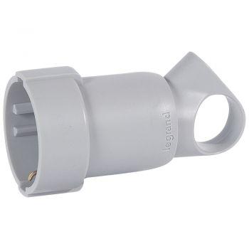 Stecher Priza Cupla Adaptor Priza Mobila Cu Inel De Extragere 2P-Plus-T 16A Gri Legrand 050325
