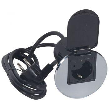 Echipament Birou Grommet Inox Echipat Priza 220V -Plus-Cablu 2M Legrand 054082
