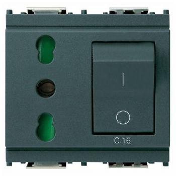 Priza 2P-plus-E 16A P17-11  outlet-plus-siguranta automata C16 CB grey vimar Idea 16273