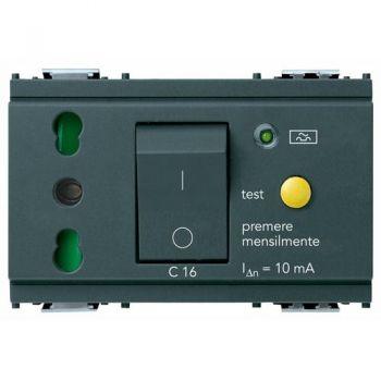 Priza 2P-plus-E 16A P17-11  outlet-plus-C16 RCBO grey vimar Idea 16283