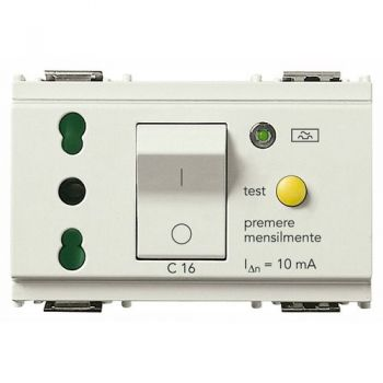 Priza 2P-plus-E 16A P17-11 outlet-plus-C16 RCBO white vimar Idea 16283-B