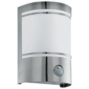 Corpuri de iluminat exterior Aplica 1 Bec E27 Cu Sensor Inox-Sat- 'Ce Eglo 30192