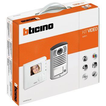 Bticino Kit Videointerfonie 2 Fire Kit vivavoce monofamiliare composto da videocitofono CLASSE 100V12B e pulsantiera LINEA 2000 con telecamera a colori 365511