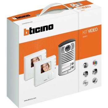 Bticino Kit Videointerfonie 2 Fire Kit vivavoce bifamiliare composto da videocitofoni CLASSE 100V12B e pulsantiera LINEA 2000 con telecamera a colori 365521