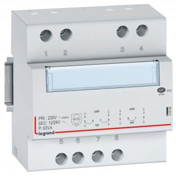 Transformator Modular Transfo De Securite 12-24 63Va Legrand 413098