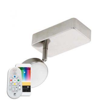 Aplica inteligenta EGLO CORROPOLI-C 97714 - LED RGB 1X5W 600lm 2700-6500K - Plastic - Otel - Alb