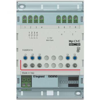 Bticino My Home Control Termperatura Attuatore DIN 3 uscite  2 x 0-10V bus F430R3V10