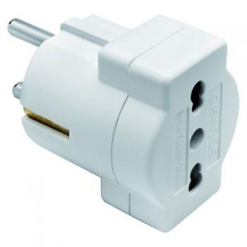 Stecher cupla 16A 2P plus E Adaptor W-16A Dual Outlet Alb Gewiss GW28415