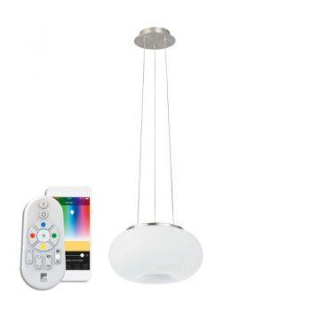 Lustra inteligenta EGLO OPTICA-C 98371 - LED RGB 22W 2900lm 2700-6500K D375mm - Sticla opal mat - Nichel Mat