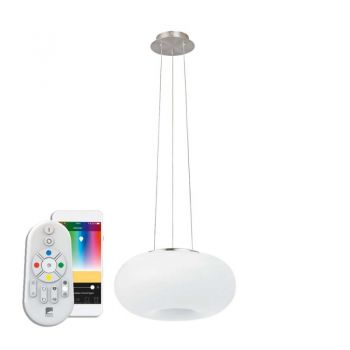 Lustra inteligenta EGLO OPTICA-C 98372 - LED RGB 24.8W 3450lm 2700-6500K D445mm - Sticla opal mat - Nichel Mat