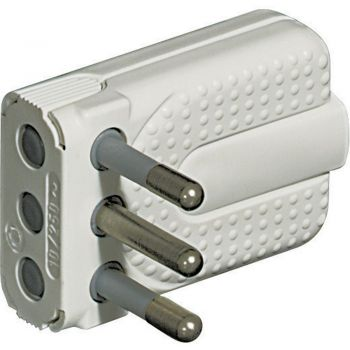 Bticino Stecher Priza Mobila-Mufa-Adaptor Kit - spina corner salvasp 2M T 10A alb S2465TAE